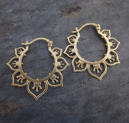 Ornate Flower Hoop Earrings, Gold
