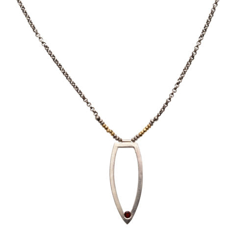 Modern Garnet Mixed Metal Necklace