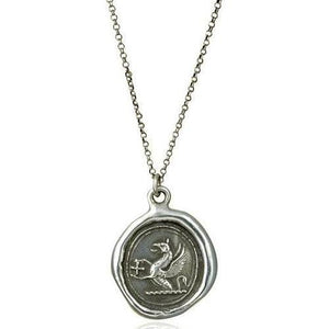 Guardianship and Faith, Wax Seal Necklace of Griffin and Cross