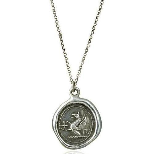 Guardianship and Faith, Wax Seal Necklace of Griffin and Cross - The Whole 9 Gallery
