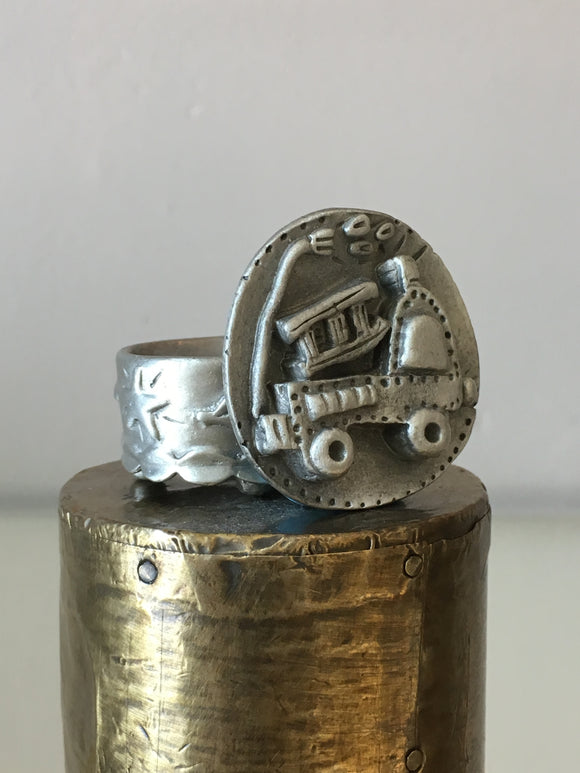 Handmade pewter tooth fairy box with a 3D train figure on top of the lid