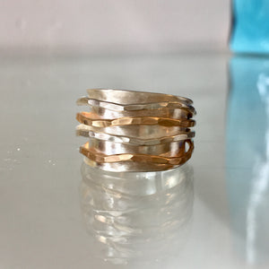 Silver and Gold Wave Ring
