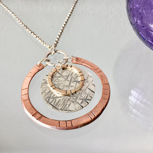 Silver, Copper, and Brass Circle Necklace