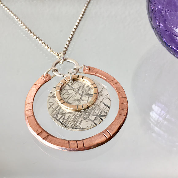 Silver, Copper, and Brass Circle Necklace - The Whole 9 Gallery