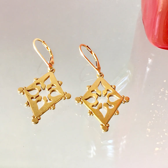 Ornate Cut Out Earrings, Gold