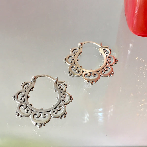 Ornate Tribal Hoop Earrings - The Whole 9 Gallery