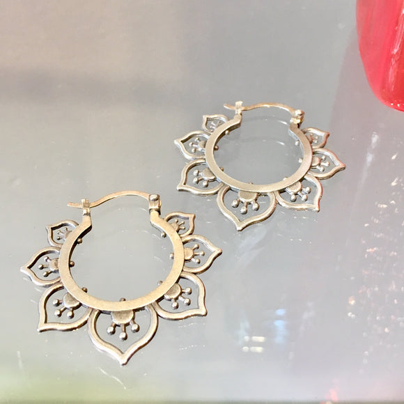 Ornate Flower Hoop Earrings, Silver