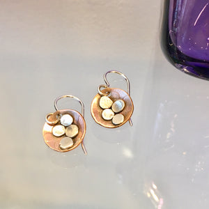 Brass and Sterling Silver button Earrings