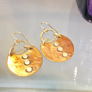 Copper and Silver Disk Earrings