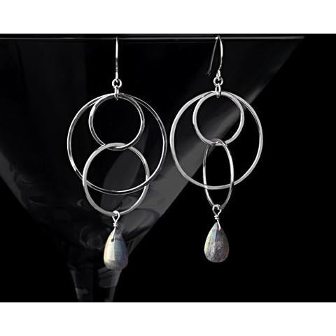 Labradorite Circle Earrings - The Whole 9 Gallery