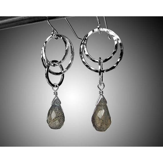 Labradorite Small Circle Earrings