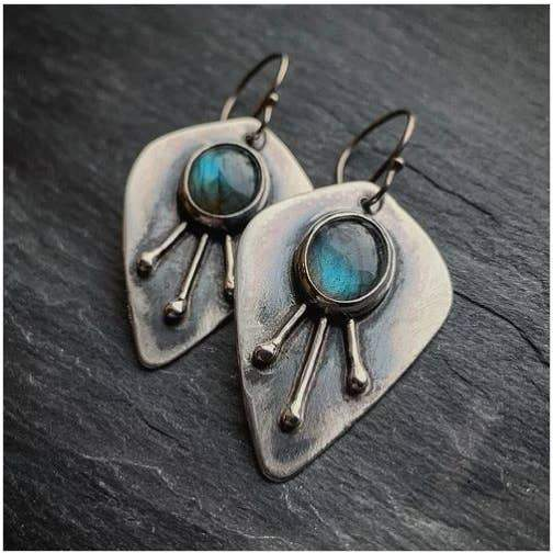 3-Ray Labradorite Sunburst Earrings - The Whole 9 Gallery
