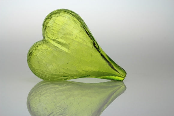 Blown Glass Heart in LimeBloyd Art Glass - The Whole 9 Gallery