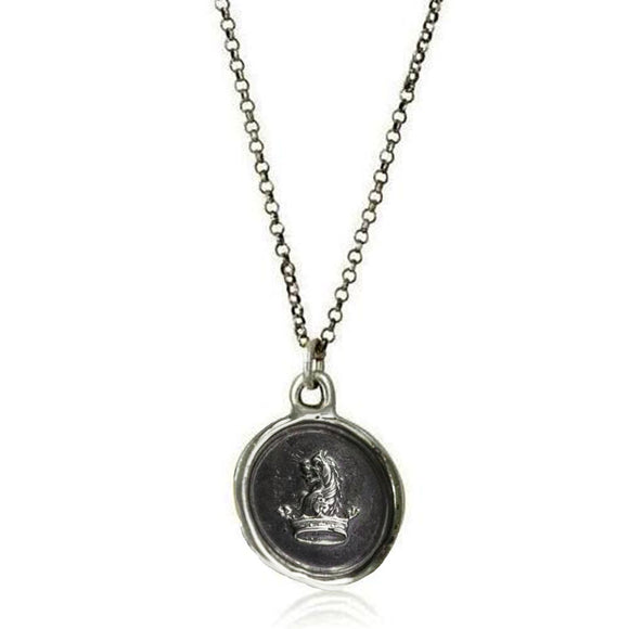 Courage to Dream, Wax Seal Necklace of a Lion & Crown