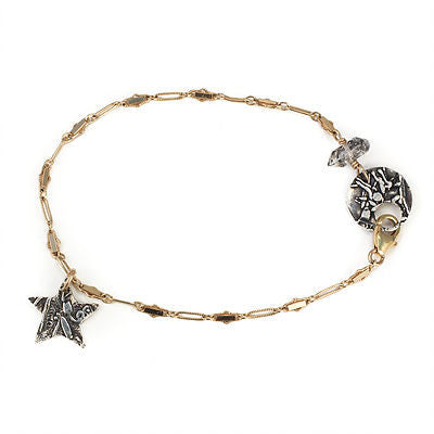 Moon and Star Bracelet with Herkimer Diamond