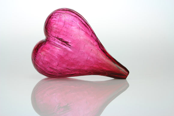 Blown Glass Heart in RubyBloyd Art Glass - The Whole 9 Gallery