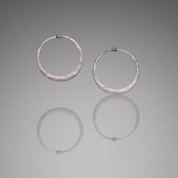 Hammered Sterling Silver Hoops, Small - The Whole 9 Gallery