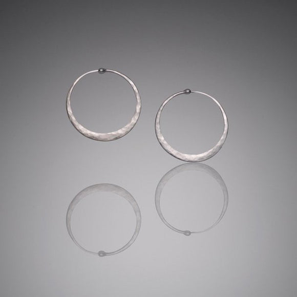 Hammered Sterling Silver Hoops, Medium - The Whole 9 Gallery