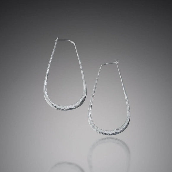 Hammered Sterling Elliptical EarringsLothLorien - The Whole 9 Gallery