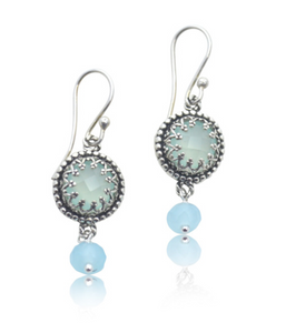 Aqua Chalcedony Filigree Bezel Earrings