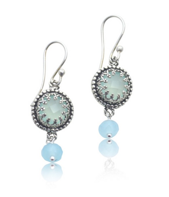 Aqua Chalcedony Filigree Bezel Earrings - The Whole 9 Gallery