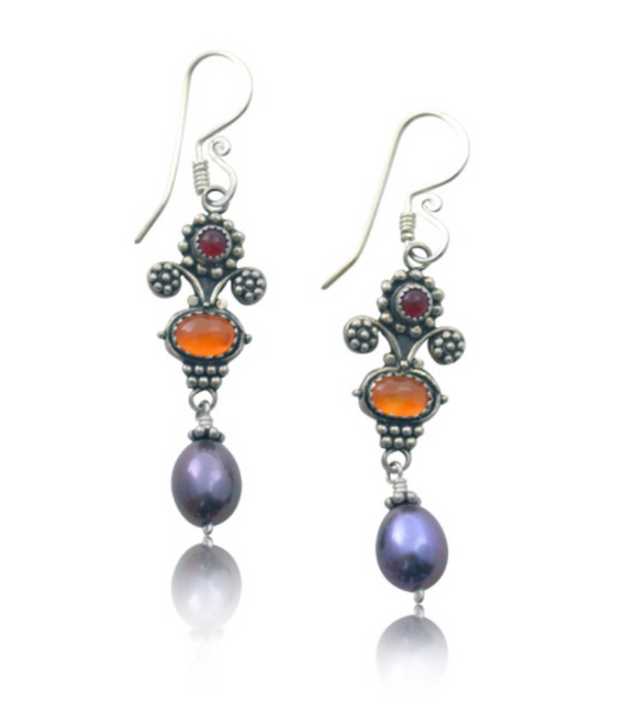 Mini Bouquet Earrings with Carnelian and Black Pearl