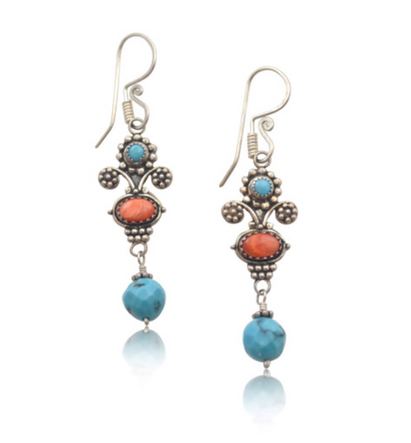 Mini Bouquet Earrings with Turquoise and Shell