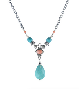 Pink Coral and Turquoise Drop Necklace
