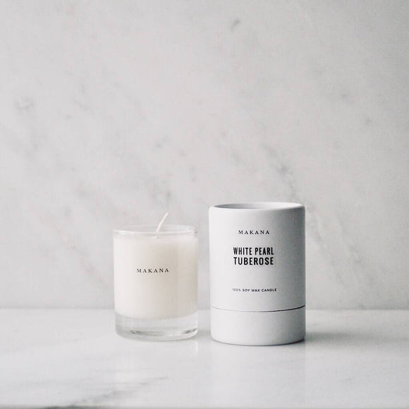 White Pearl Tuberose Candle by Makana