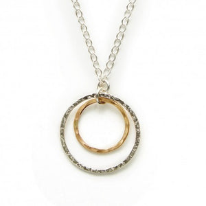 Suspended Gold and Silver Circle Necklace