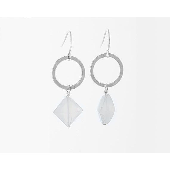 Moonstone Circle Earrings