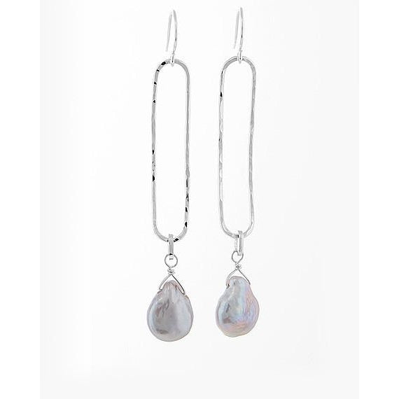 Elongated Gray Pearl Earrings - The Whole 9 Gallery