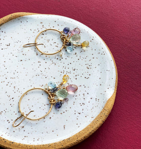 Pastel Gemstone Drop Hoop Earring by Vannucci