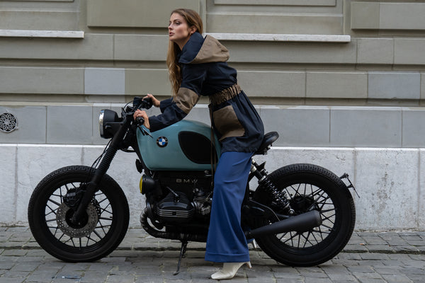 Appareal Recycled Cotton Parka, Model on the motocycle, Geneva Switzerland