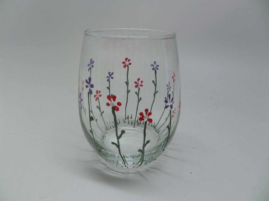 Hand Painted Stemless Wine Glass for Spring with Pink and Purple Flowers  Great Gift for Spring