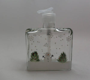 Hand painted Snowman with Christmas trees Soap or Lotion Dispenser