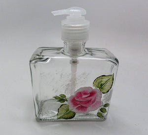 Hand painted pink Rose Soap or Lotion Dispenser Great gift