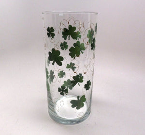 Hand painted St. Patrick's Day Vase with clovers with gold swirls