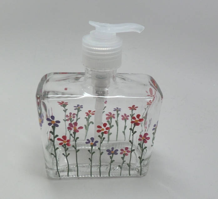 Hand Painted Soap Dispenser with Red, Pink and Purple flowers