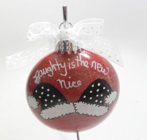 Hand Painted Naughty is the New Nice Santa Hat Ornament Personalized Free