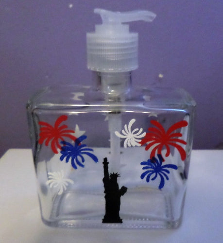 Hand Painted 4th of July Celebration Soap Dispenser