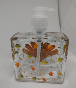 Hand painted Soap or Lotion Dispenser for Thanksgiving with Cute Turkey and Fall Leaves