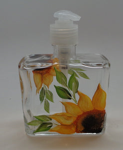 Hand painted Soap/Lotion Dispenser with Sunflowers