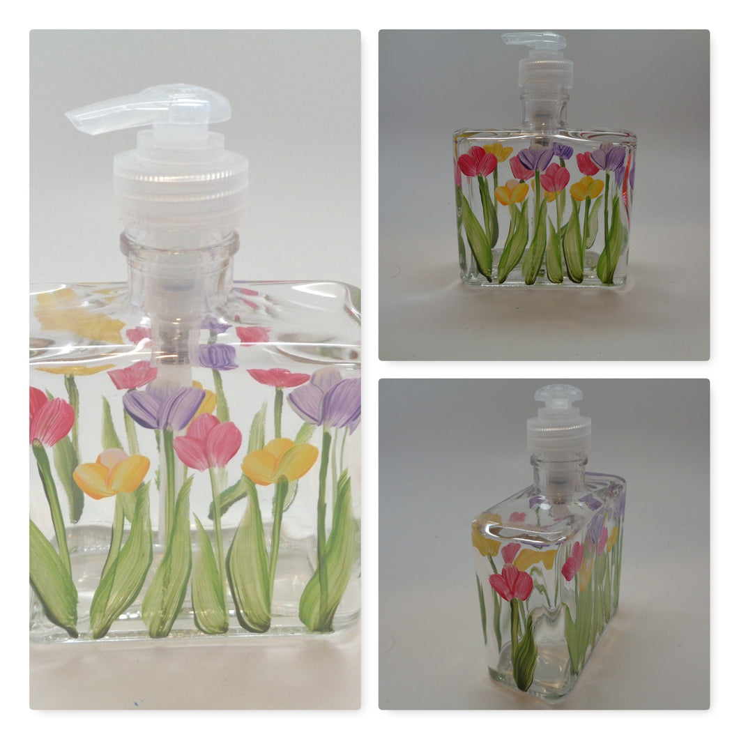 Hand painted Spring Tulips Soap or Lotion Dispenser with Pink, Yellow and Purple Tulips