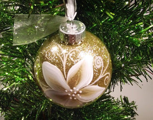 Hand Painted Personalized Christmas Ornament - Gold Glitter white and gold Poinsettia
