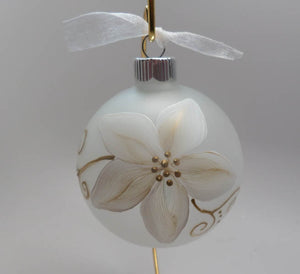 Hand Painted Personalized Christmas Ornament - Gold and White Poinsettia on frosted ornament