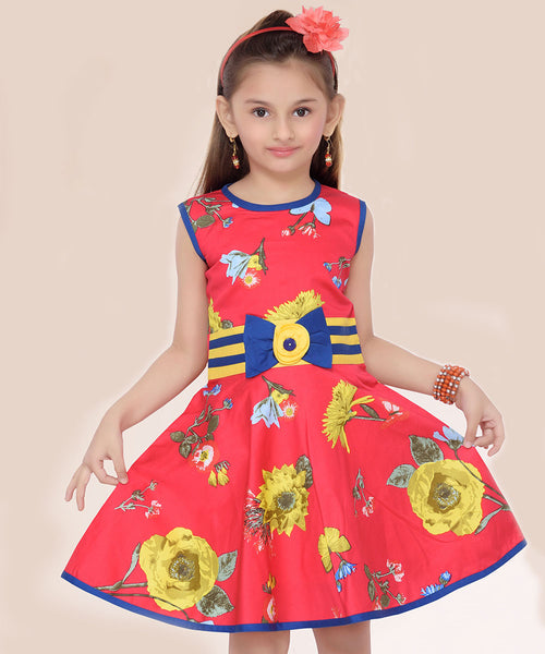 Red & Yellow Floral Bow-Accent A-Line Dress