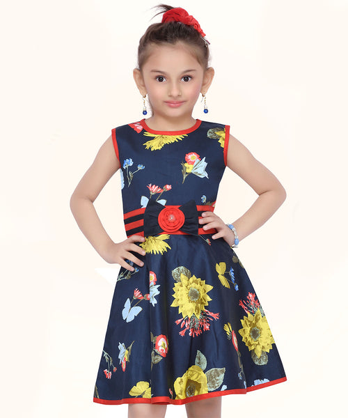 Blue & Yellow Floral A-Line Dress