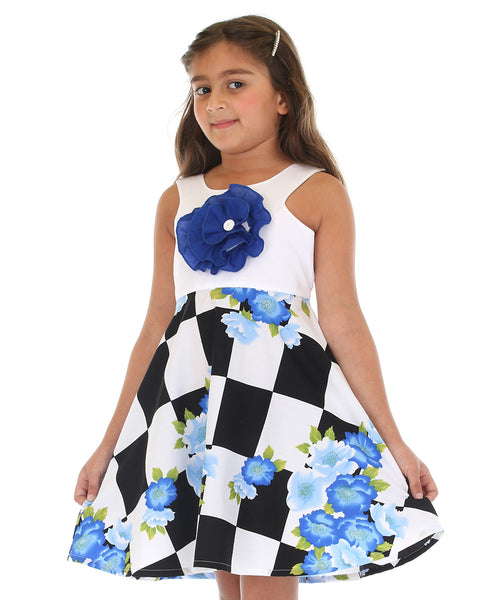 Blue & White Floral Fit & Flare Dress