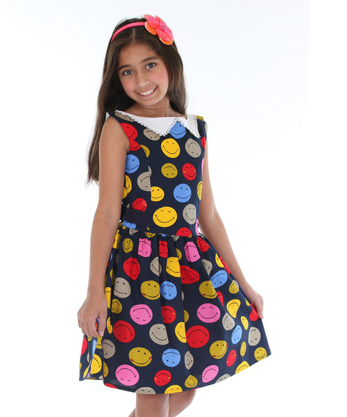 Navy Smiley Face A-Line Dress